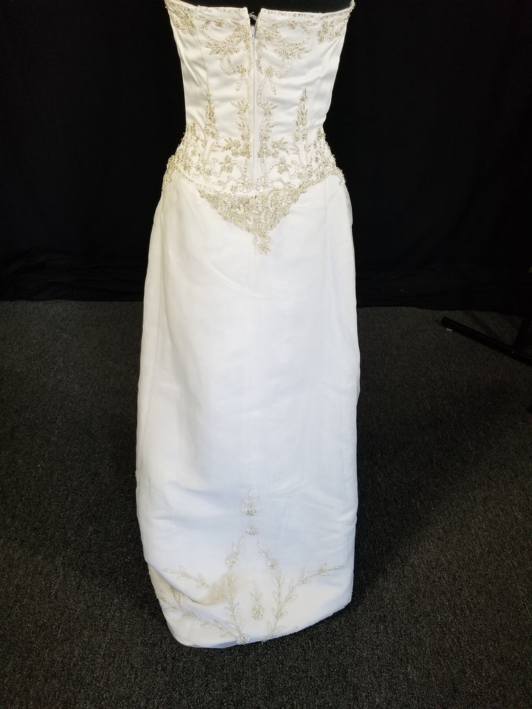 White satin sheath gown