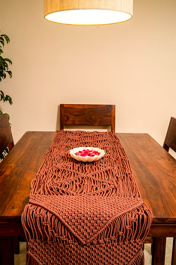 Geometric Hand-Knotted Table Runner