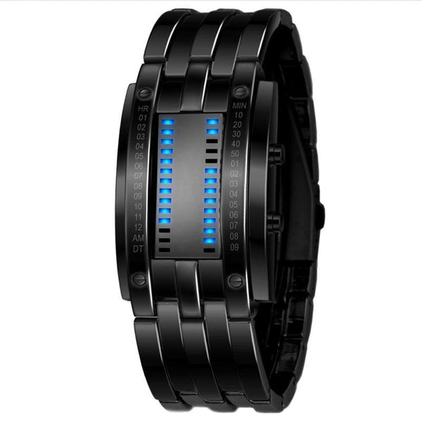 Sport Digital Watch Men Stainless Steel Strap LED Display Watches Waterproof - Ylime