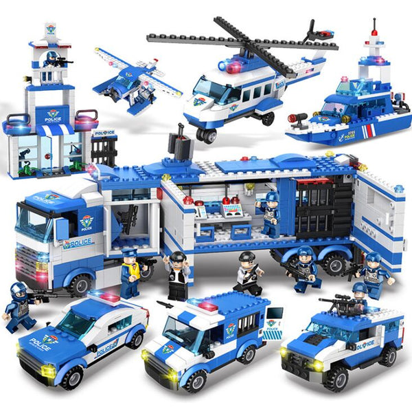 1122pcs SWAT City Police Series Building Blocks Vehicle Helicopter City Police Station - Ylime