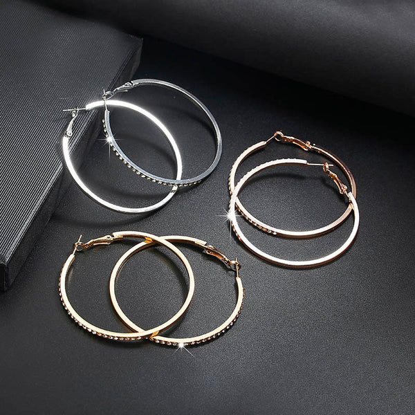 Hoop Earrings With Rhinestone Circle Earrings Simple Earrings Big Circle Gold Color Loop Earrings For Women - Ylime