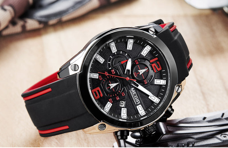 Men's Chronograph Analog Quartz Watch Waterproof Silicone Rubber Strap - Ylime
