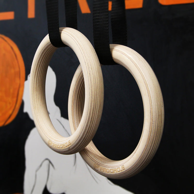Wood Gymnastic Rings 28/32 mm Gym Rings with Adjustable Long Buckles Straps - Ylime