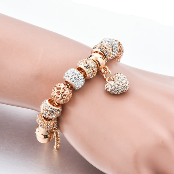 Luxury Crystal Heart Charm Bracelets & Bangles Gold Bracelets For Women - Ylime