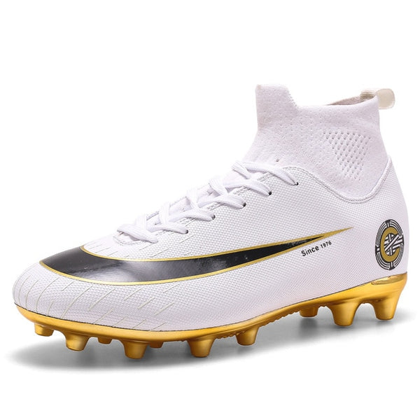 White Golden Football Boots High Ankle Soccer Shoes - Ylime