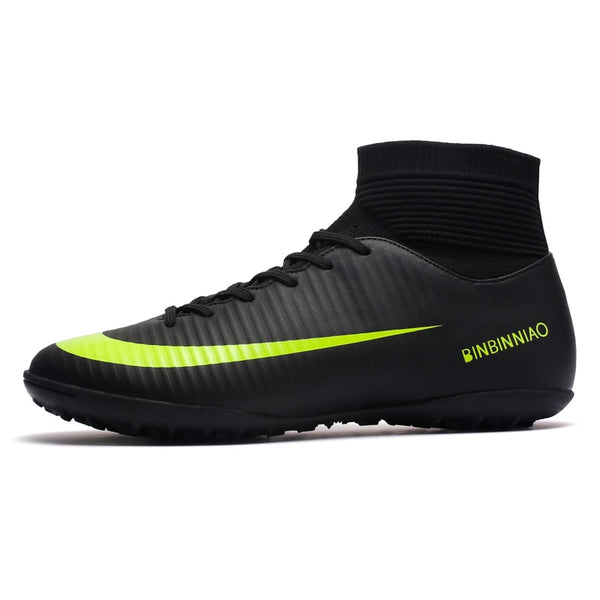 Black Soccer Shoes Training Football High Ankle Sport Sneakers - Ylime