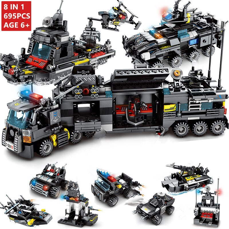 8Pcs/lot 695Pcs City Police SWAT Truck Building Blocks Sets Ship Vehicle LegoINGs Technic DIY Bricks Playmobil Toys for Children - Ylime