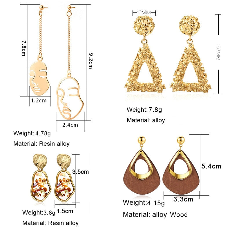 Round Dangle Earrings For Women Round Heart Gold Earring - Ylime