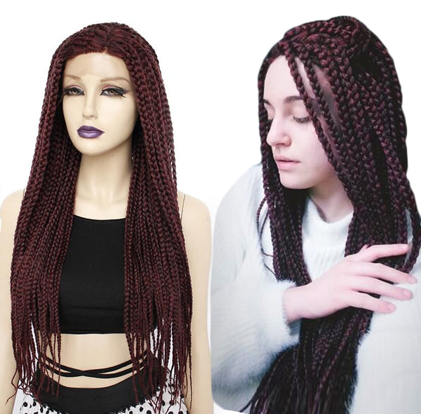 Synthetic Long Braided Afro Lace Wig - Ylime