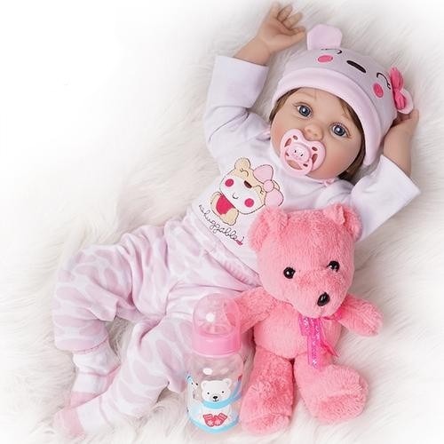 55cm Silicone Baby Doll Girl Light Pink Outfit - Ylime