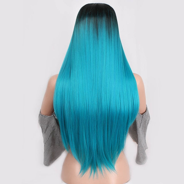 Straight Ombre Long Synthetic Colorful Wig - Ylime