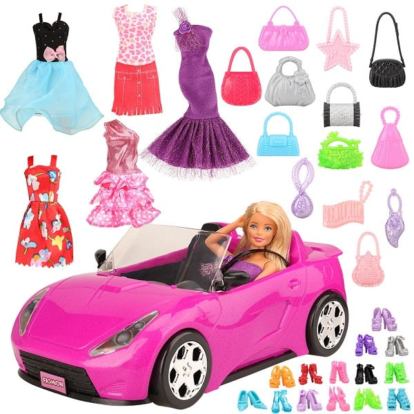 Handmade 26 items/set Doll Accessories 1 Toy car +5 Dolls Clothes +10 random shoes For Barbie - Ylime