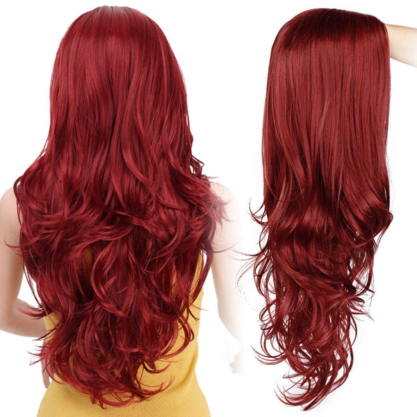 Long Wavy Synthetic Red & Black Wig - Ylime