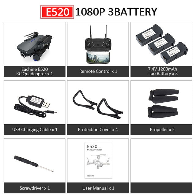 E520 WIFI FPV Foldable Quadcopter With 4K/1080P HD Wide Angle Camera - Ylime