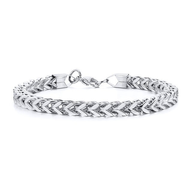 Stylish Stainless Steel Silverly Chain Bracelet for Men Chain Bracelets Male Jewelry - Ylime