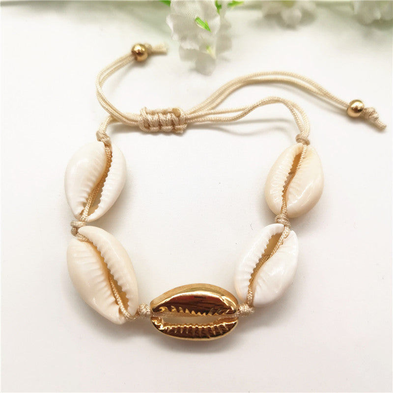 Gold Color Cowrie Shell Bracelets for Women Rope Chain Bracelet Beads Charm Bracelet Beach Jewelry - Ylime