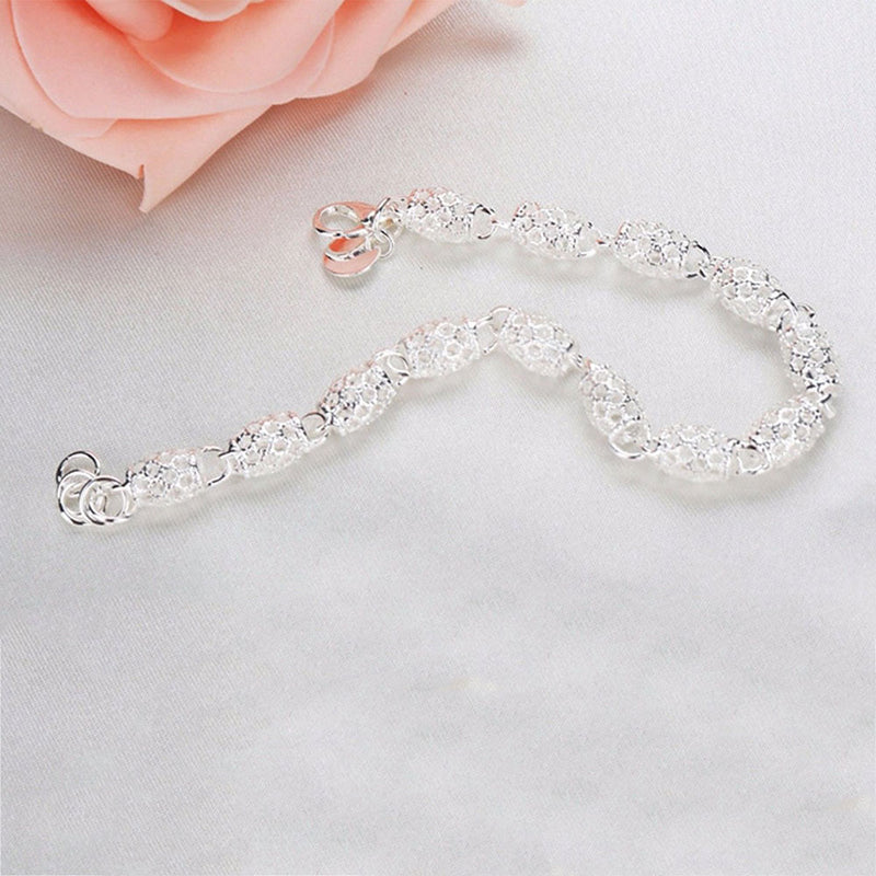 Beautiful Elegant Silver Bracelet Chain Bracelet Bangle For Women Lady Fashion Jewelry - Ylime