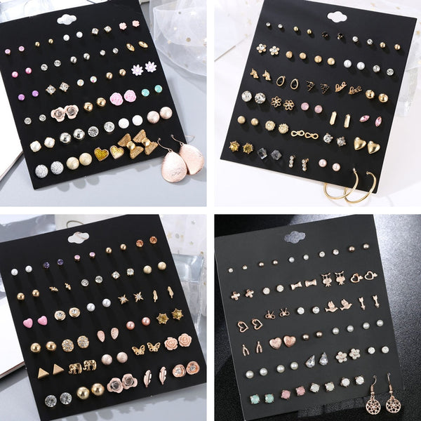 30Pairs/set Classic Mix Round Ball Bow Elephant Heart Flower Owl Love Pearl Bead Stud Earrings Sets - Ylime