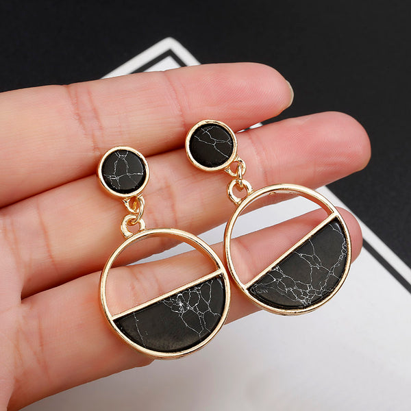 Stud Earrings Black White Stone Geometric Earrings Round Triangle Design - Ylime