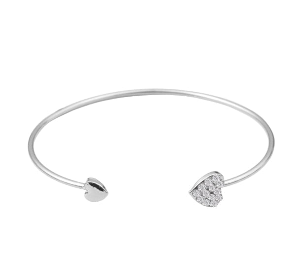 Fashion Adjustable Crystal Double Heart Bow Opening Bracelet For Women - Ylime