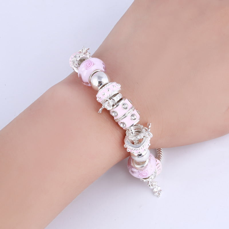 Crystal Charm Silver Bracelets & Bangles for Women With Beads Silver Bracelet Jewelry - Ylime