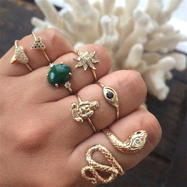 Ladie Geometric Charming Jewelery Ring Set - Ylime