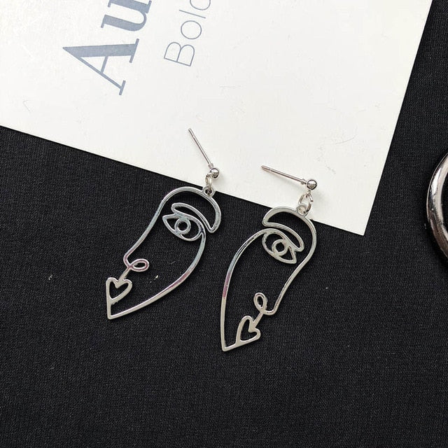 Face Drop Earrings For Women Retro Abstract Hollow out Statement Hand Metal Fashion Dangle Earring Jewelry - Ylime