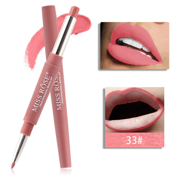 20 color matte lipstick lip liner 2 in 1 brand makeup lipstick matte durable waterproof nude red lipstick lips make up - Ylime