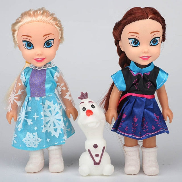 2pcs Princess Anna Elsa Dolls For Girls 16cm Small Plastic Baby Dolls - Ylime