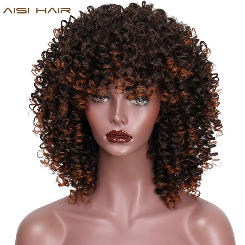 Synthetic Afro Mixed Kinky Style Curly Wig - Ylime