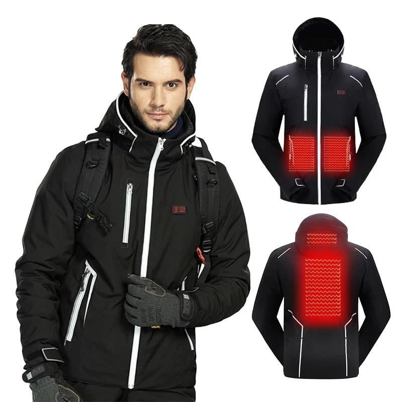 Men Winter Ski Suit USB Heated Hooded Jacket Male Outdoor Waterproof Windproof Breathable Thermal Snowboard Coat - Ylime
