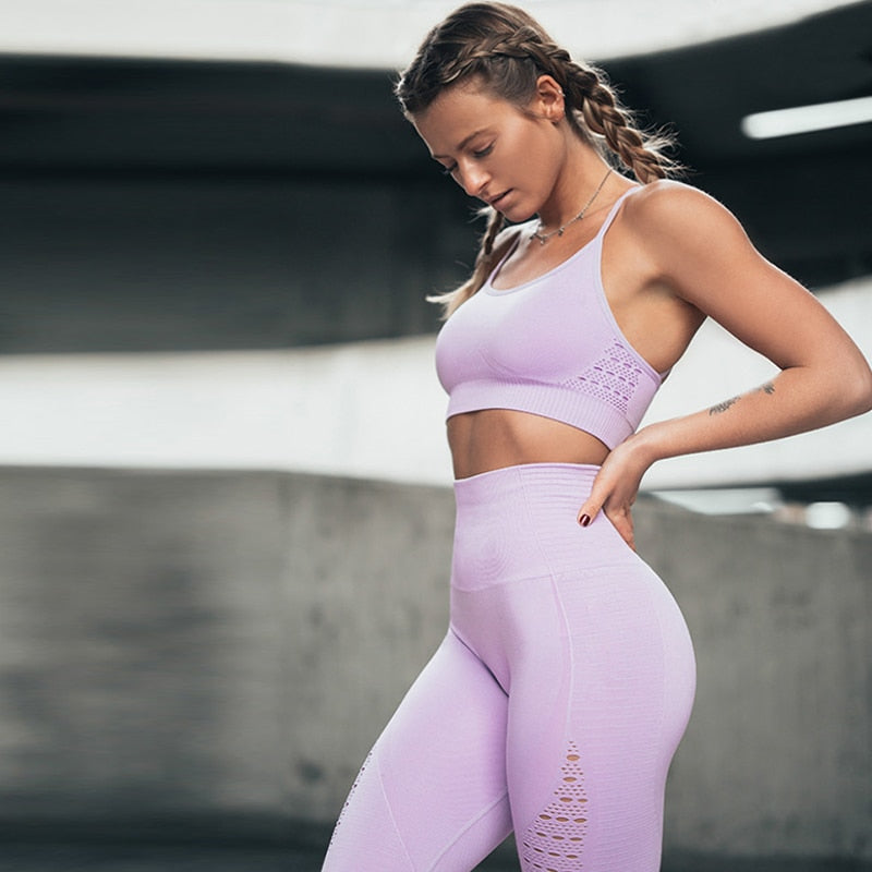 Seamless Yoga Pants Women High Waist Stitching Hollow Sport Pants Female Running Training - Ylime