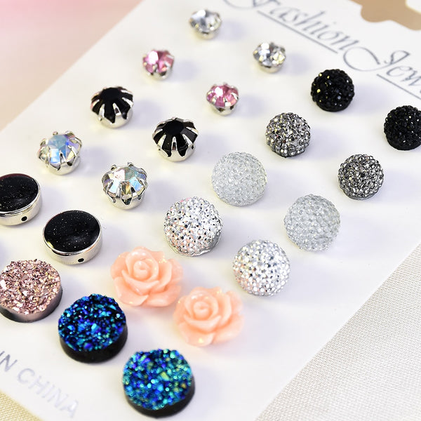 12 pair Crystal Fashion Earrings Set Women Jewelry Accessories Piercing Ball Stud Earring - Ylime