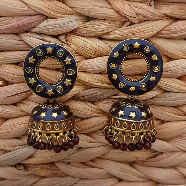 Traditional Earrings with Enamel Jhumka