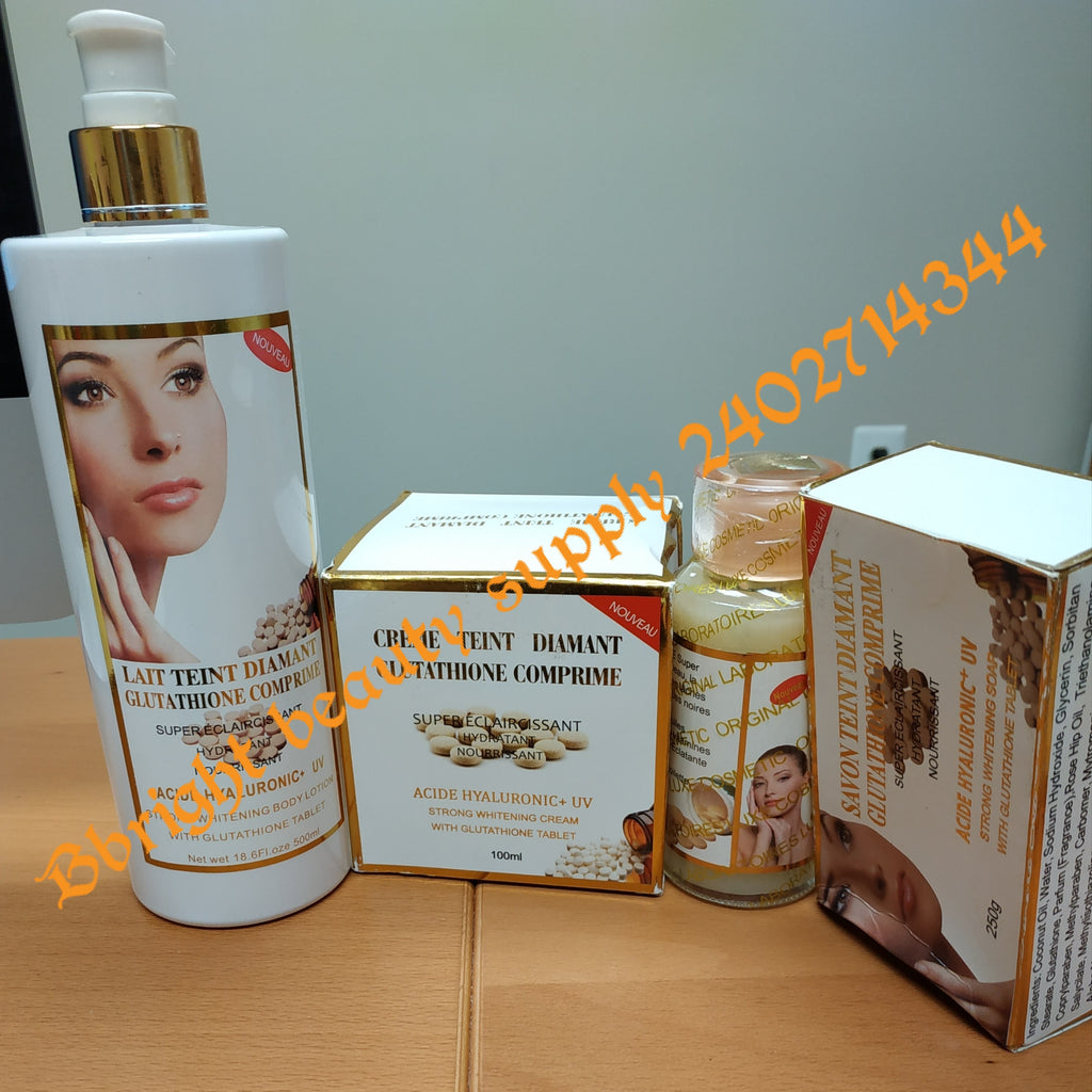 Glutathione comprime super fort 500ml  strong whitening lotion set (lotion,serum,face cream,soap)
