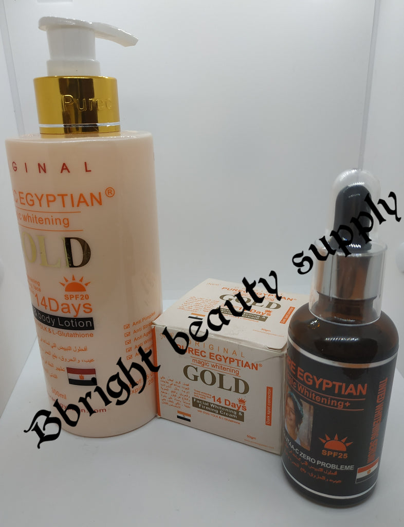 Pure Egyptian magic whitening gold 3 set(lotion,oil,face cream)