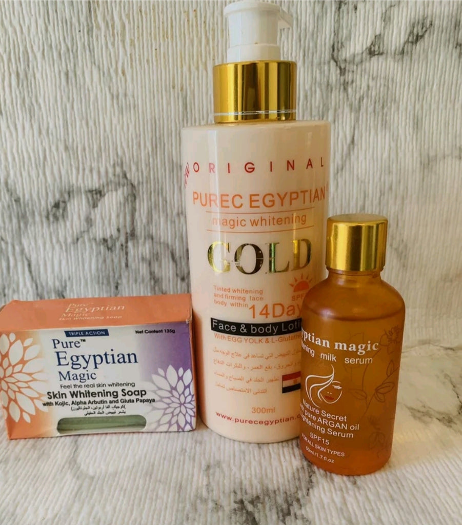 Pure Egyptian magic whitening gold set(lotion,serum,soap)