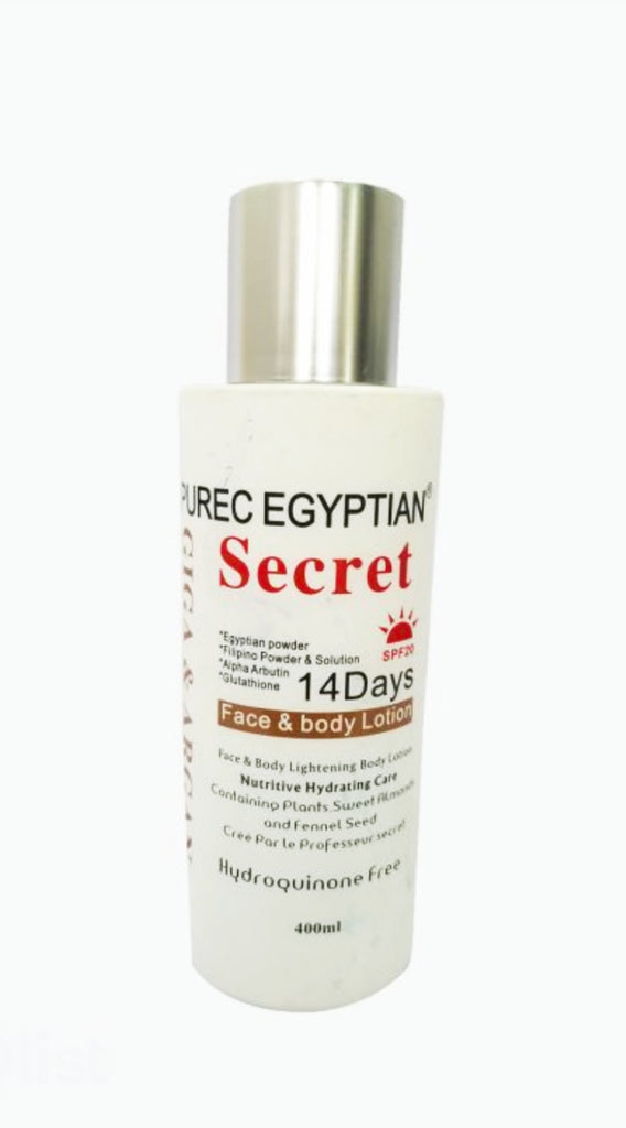 Purec Egyptian secret  with giga and argan body and face lotion 400ml