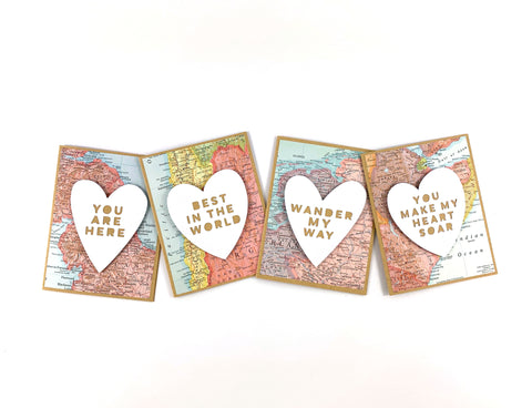 Handmade Valentine's Day cards made with maps by Type Shy
