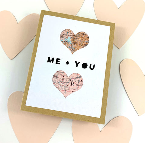 Me and You Valentine's Day Card made with maps by Type Shy