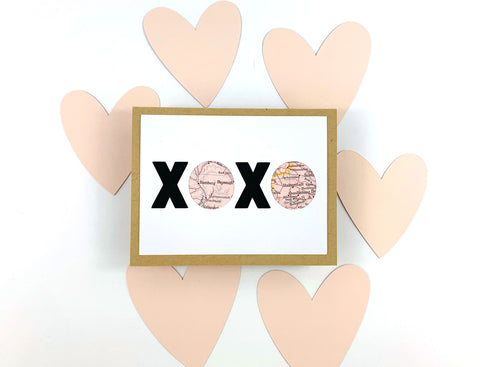 XOXO Valentine's Day Card made with maps by Type Shy