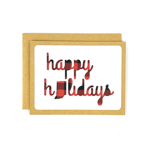 Happy Holidays Indiana Buffalo Plaid Card