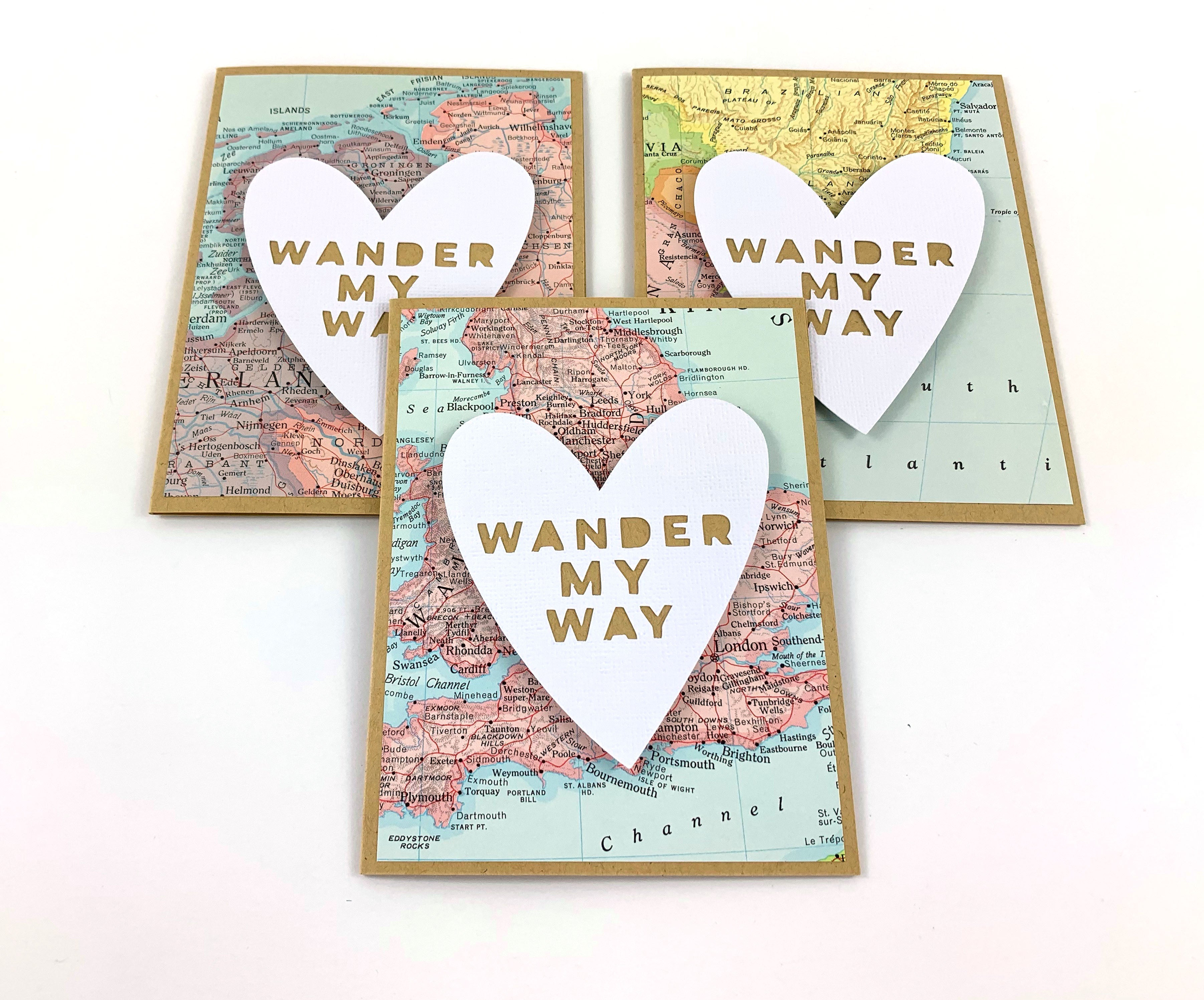 Romantic Handmade Card Made from Real Map by Type Shy