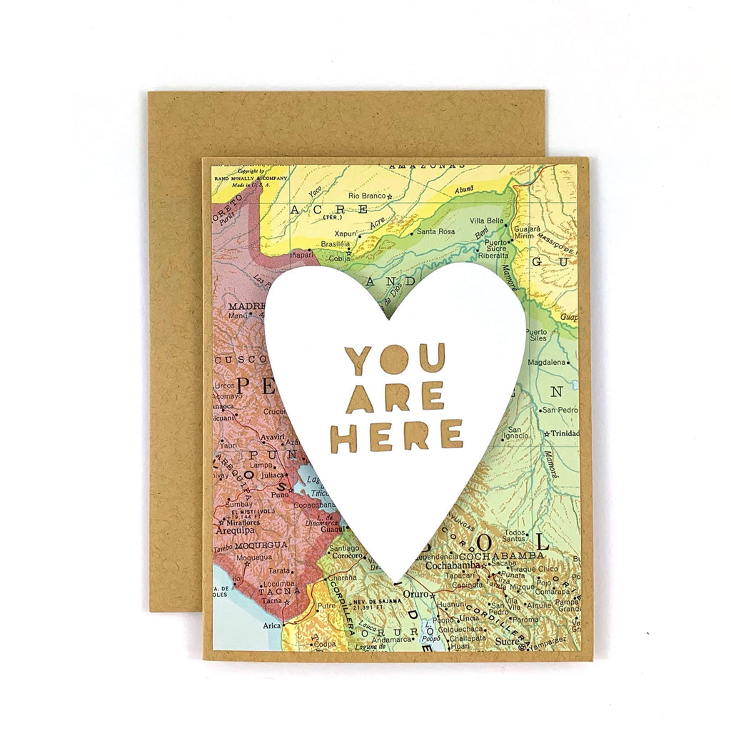 You Are Here Candy Heart Card