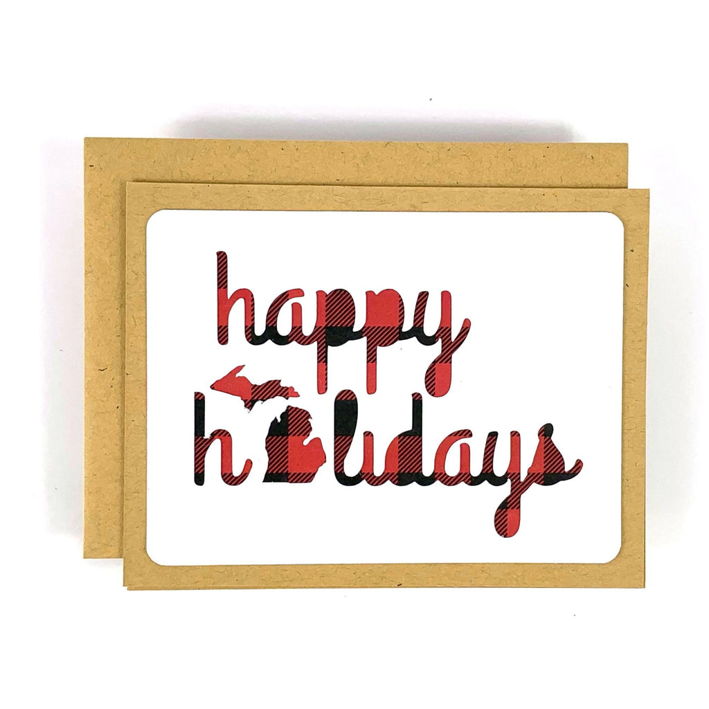 Happy Holidays Michigan Buffalo Plaid Card