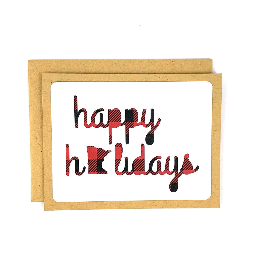 Happy Holidays Minnesota Buffalo Plaid Card