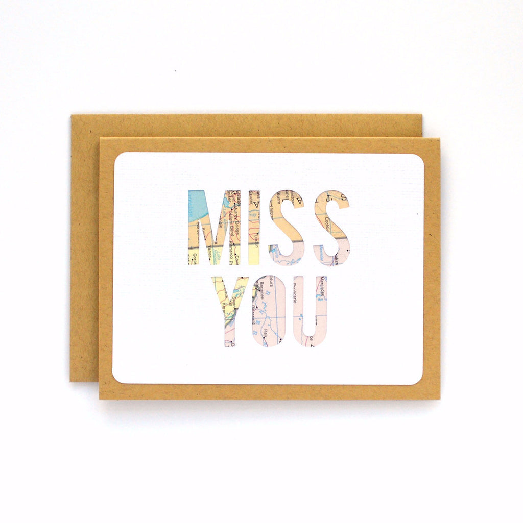 Miss You Map Card