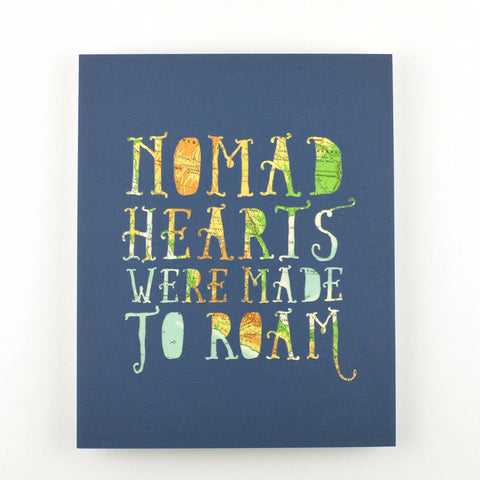 Nomad Hearts in Dark Blue with Tan and Green Map, 8x10