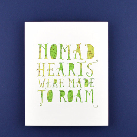 Nomad Hearts in White with Green Map, 8x10