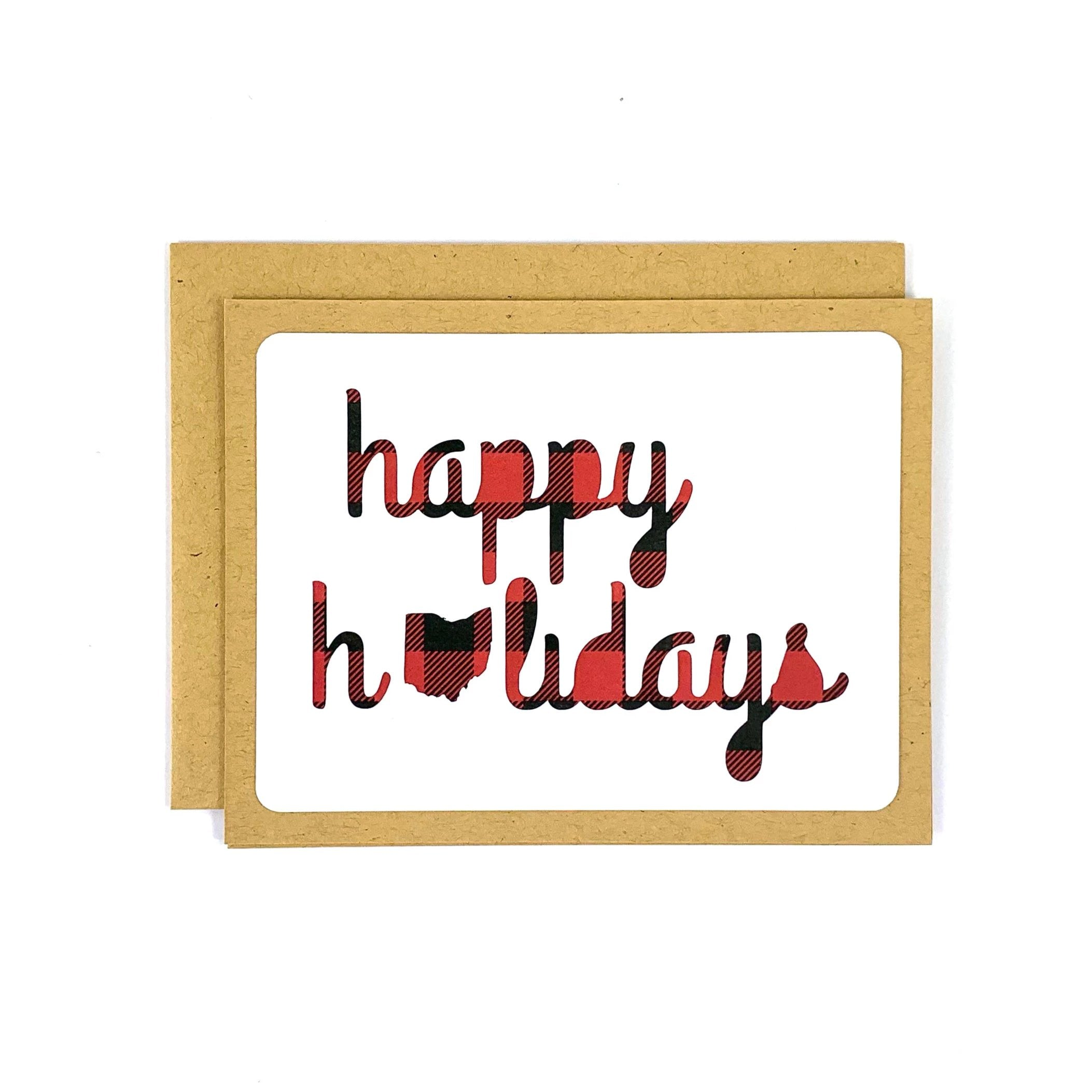 Happy Holidays Ohio Buffalo Plaid Card
